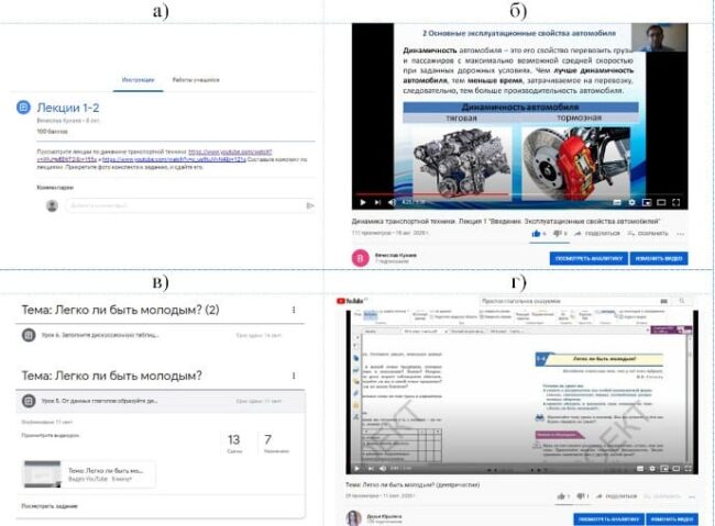 а – задание по дисциплине «Динамика транспортной техники»; б – видеоурок по дисциплине «Динамика транспортной техники» на YouTube-канале; в – задание по предмету «Русский язык и литература»; г – видеоурок по предмету «Русский язык и литература» Рисунок 3 – Примеры использования Google Класс совместно с YouTube-каналом
