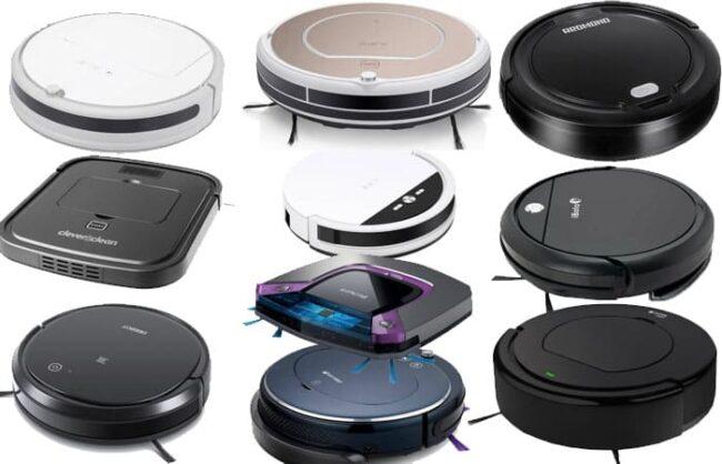На фото – 10 лучших моделей, вошедших в наш рейтинг недорогих роботов пылесосов
